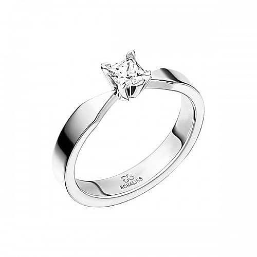 Diamantring från Schalins ringar i 18k vitguld med 1st prinsesslipad diamant Top Wesselton /VS på 0,30 ct.