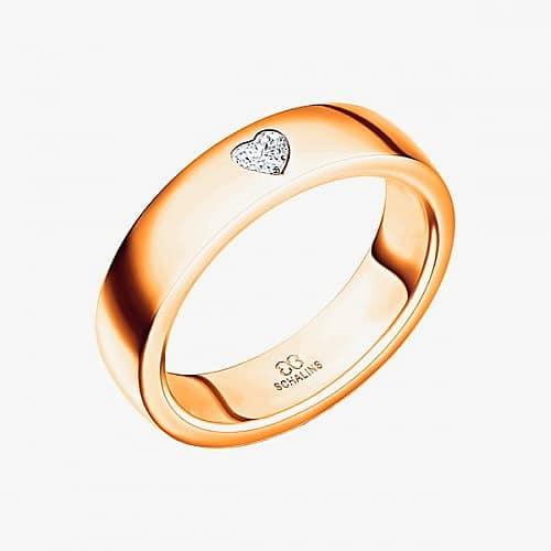 Diamantring från Schalins ringar i 18k roseguld med 1 st Hjärtslipad diamant på 0,12 ct Wesselton/ SI,