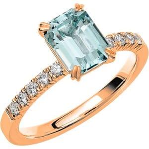 Ring från Schalins FAIRYTALE 2 Akvamarin på 1,40 ct / diamanter på 0,20 ct WSI i 18k roseguld