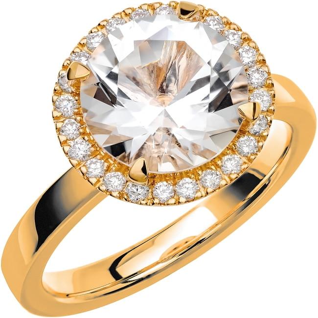 Ring från Schalins Fairytale 9/ Snövit Beryll 9,5 mm/ diamanter 0,24 ct i 18k guld