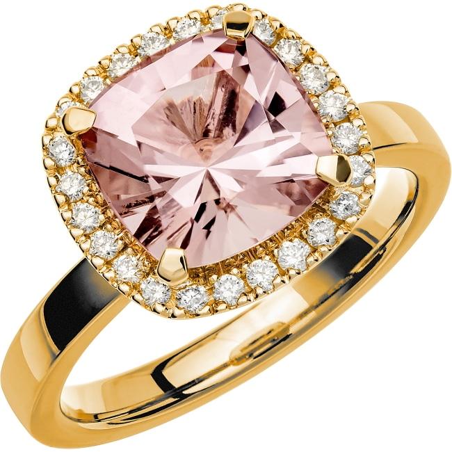 Ring i 18k guld med en kuddslipad Morganit sten 9 mm och 24st briljantslipade diamanter på 0,01 ct styck