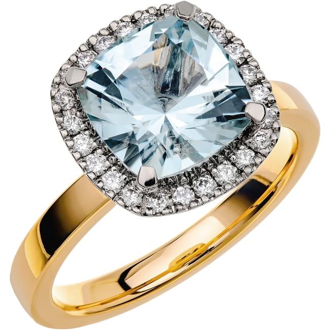 Ring från Schalins Fairytale 11/ Akvamarin 9 mm/ diamanter 0,24 ct i 18k guld