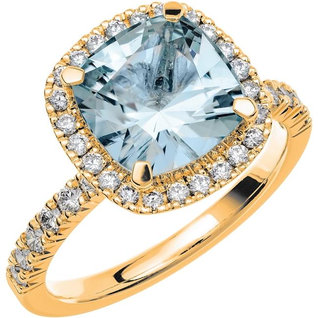Ring från Schalins Fairytale 12/ Akvamarin 9 mm/ diamanter 0,48 ct i 18k guld
