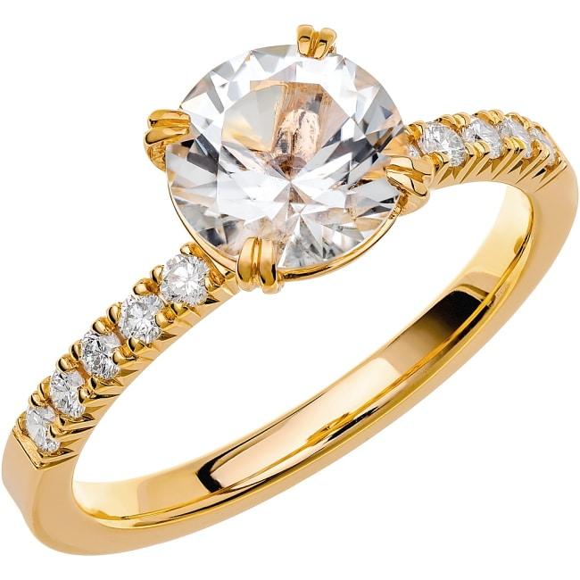 Ring från Schalins Fairytale 4/ Snövit Beryll 7,5 mm/ diamanter 0,20 ct i 18k guld