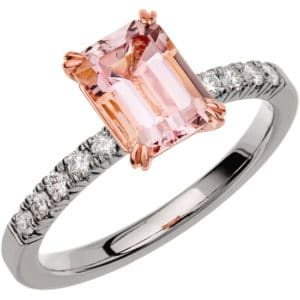 Ring Fairytale 2 18k vitguld/ Morganit 1,40 ct / diamanter 0,20 ct WSI