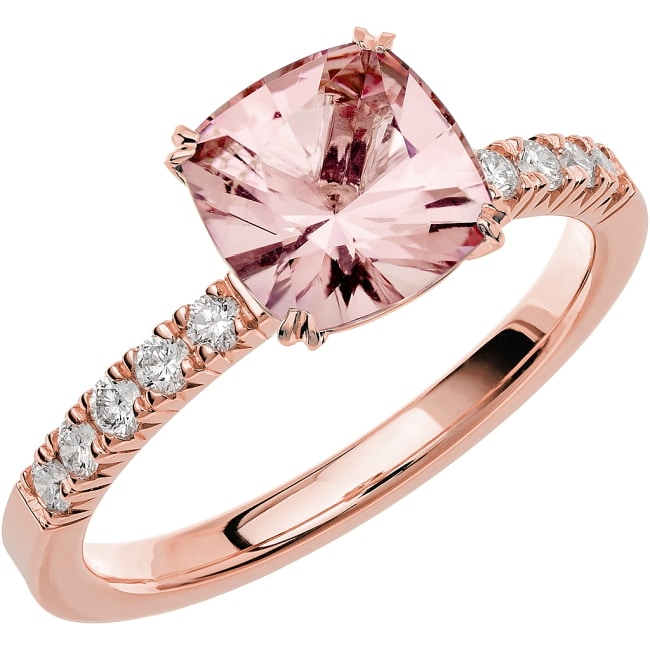 Ring från Schalins Fairytale 6/ Morganit 7,5 mm/ diamanter 0,20 ct i 18k vitguld