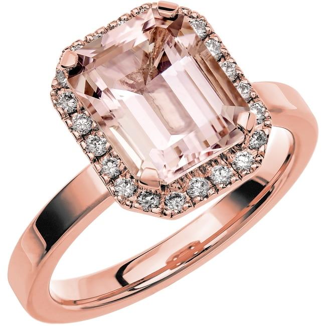 Ring från Schalins Fairytale 7/ Morganit 10x8 mm/ diamanter 0,22 ct i 18k roseguld