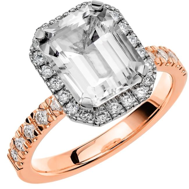 Ring från Schalins Fairytale 8/ Snövit Beryll 10x8 mm/ diamanter 0,47 ct i 18k roseguld