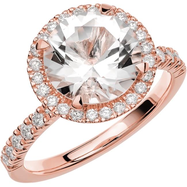 Ring från Schalins Fairytale 11/ Snövit Beryll 9 mm/ diamanter 0,24 ct i 18k roseguld