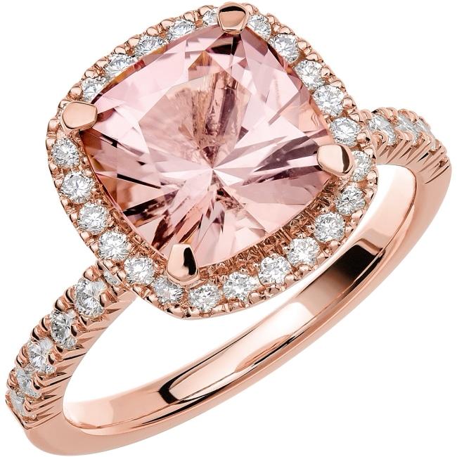 Ring från Schalins Fairytale 12/ Morganit 9 mm/ diamanter 0,48 ct i 18k roseguld