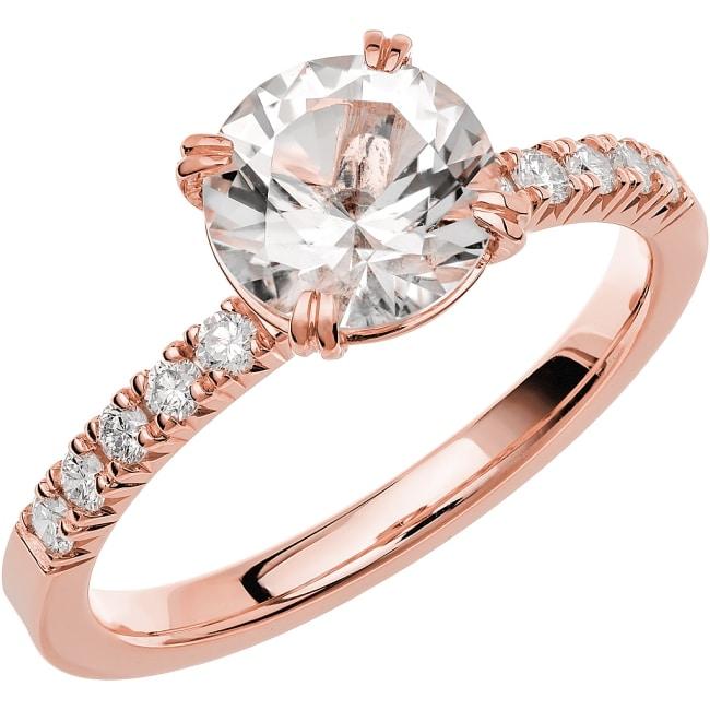 Ring från Schalins Fairytale 4/ Snövit Beryll 7,5 mm/ diamanter 0,20 ct i 18k roseguld