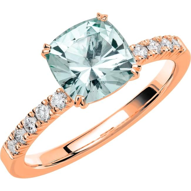 Ring från Schalins Fairytale 6/ Akvamarin 7,5 mm/ diamanter 0,20 ct i 18k roseguld