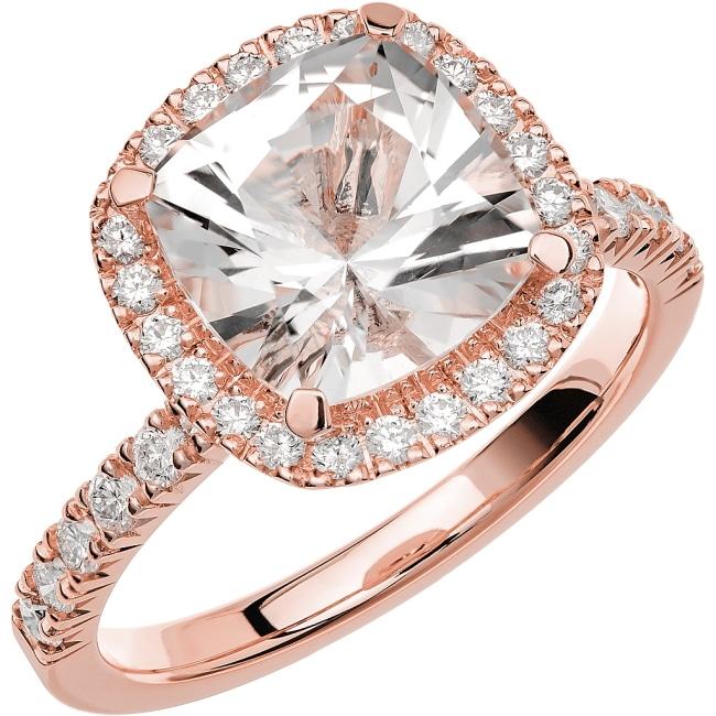 Ring från Schalins Fairytale 12/ Snövit Beryll 9 mm/ diamanter 0,48 ct i 18k roseguld