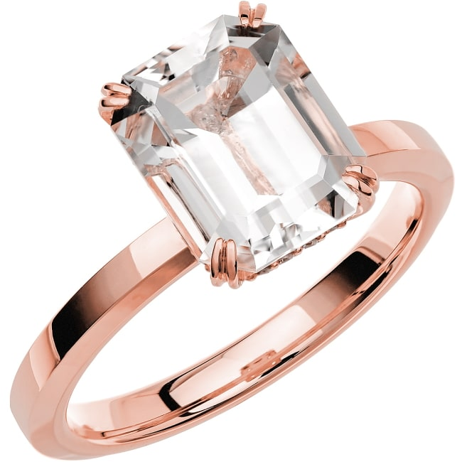 Ring från Schalins Fairytale 13/ Snövit Beryll10x8 mm/ diamanter 0,10 ct i 18k roseguld