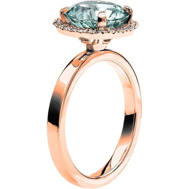 Ring från Schalins Fairytale 9/ Akvamarin 9,5 mm/ diamanter 0,24 ct i 18k roseguld