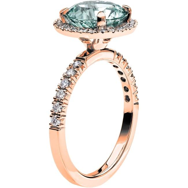 Ring från Schalins Fairytale 10/ Akvamarin 9,5 mm/ diamanter 0,48 ct i 18k roseguld