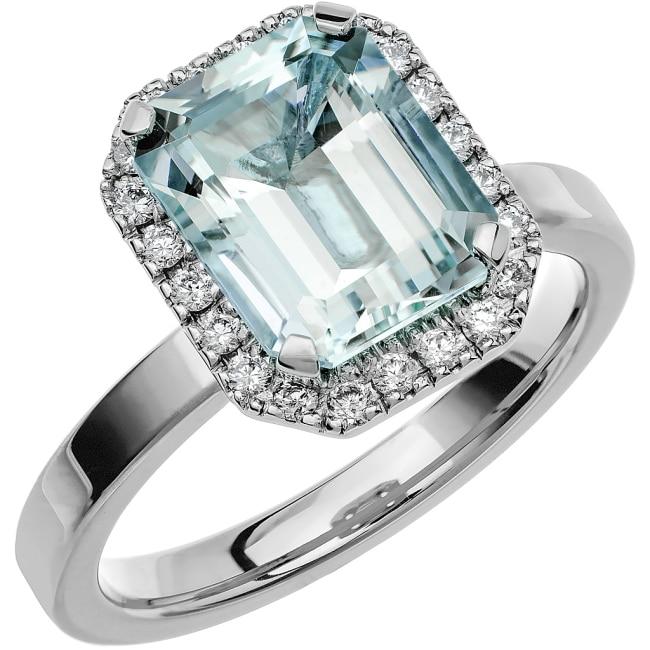 Ring från Schalins Fairytale 7/ Akvamarin 10x8 mm/ diamanter 0,22 ct i 18k vitguld