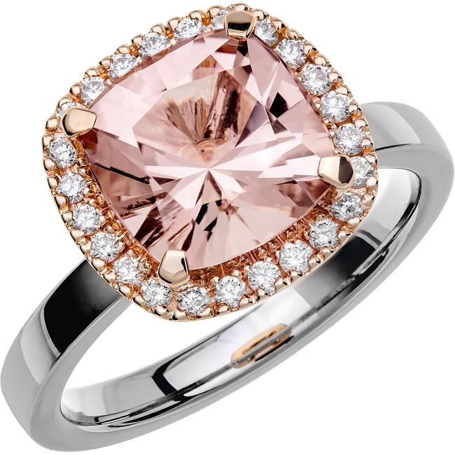 Ring från Schalins Fairytale 11/ Morganit 9 mm/ diamanter 0,24 ct i 18kvitguld