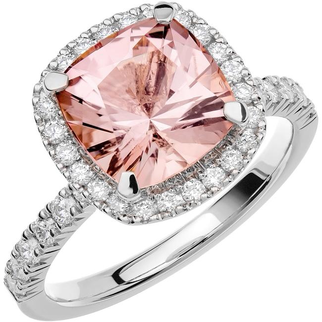Ring från Schalins Fairytale 12/ Morganit 9 mm/ diamanter 0,48 ct i 18k vitguld