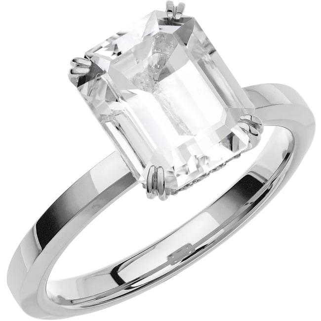 Ring från Schalins Fairytale 13/ Snövit Beryll10x8 mm/ diamanter 0,10 ct i 18k vitguld