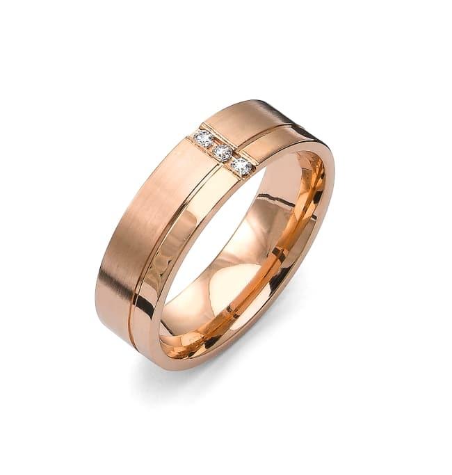 Förlovningsring från Flemming Uziel i 18k roseguld med 3st briljantslipade diamanter på 0,045 ct totalt Wesselton/SI