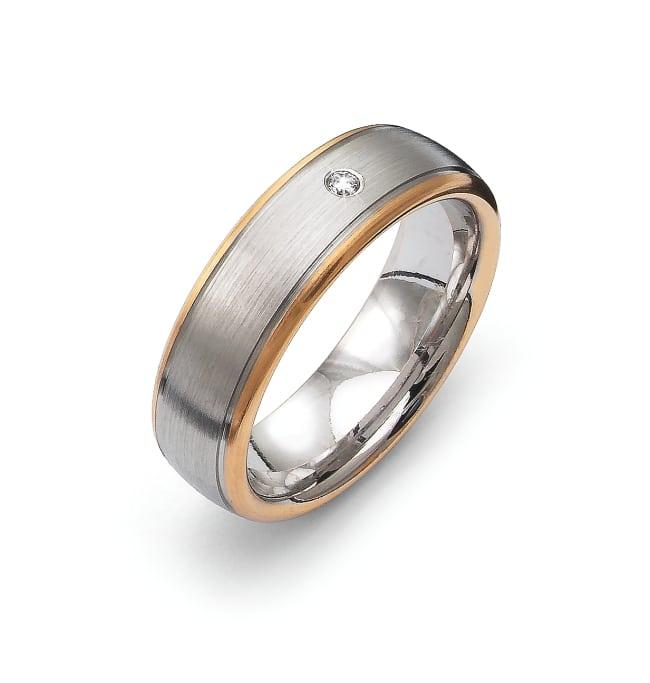 Ring Flemming Uziel i 18k rose & vitguld- 0,02 ct WSI diamant /B3262 Selective