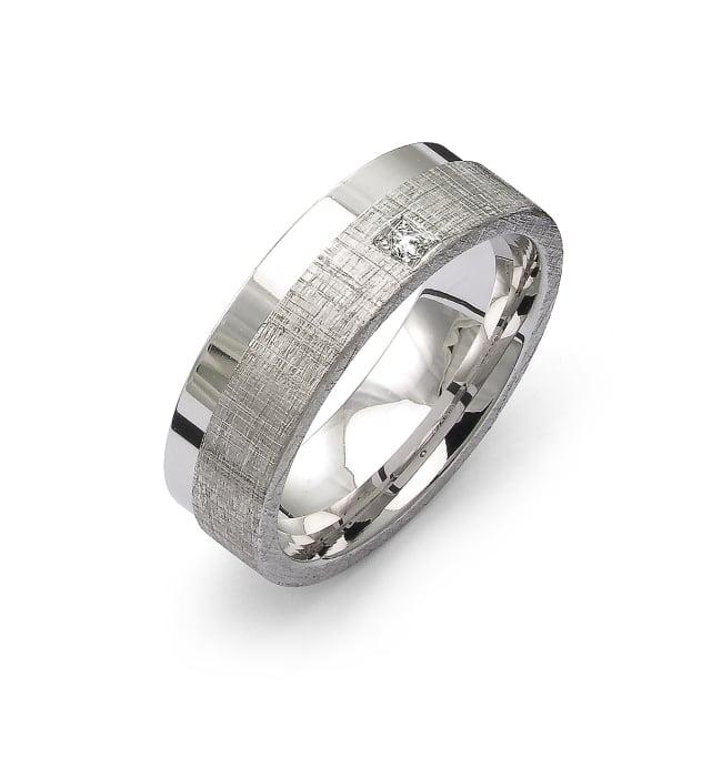 Förlovningsring från Flemming Uziel i 18k vitguld med en briljantslipad diamant på 0,02 ct Wesselton/ SI
