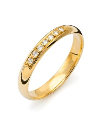 Vigselring från Flemming Uziel i 18k guld 0,07ct WSI diamanter -B001