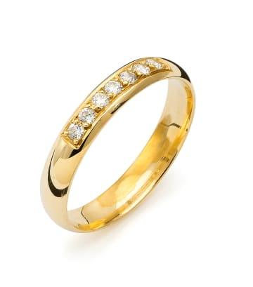 Vigselring Flemming Uziel i 18k guld 0,14ct WSI diamanter -B002