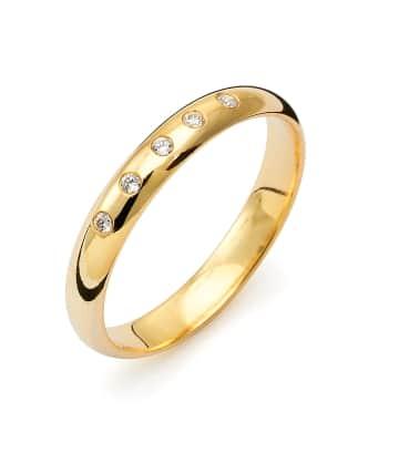 Vigselring Flemming Uziel i 18k guld 0,05 ct WSI diamanter -B006