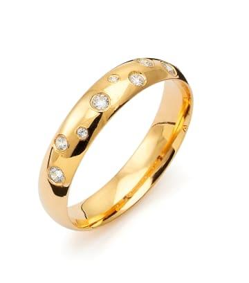 Vigselring Flemming Uziel i 18k guld 0,125 ct WSI diamanter -B007