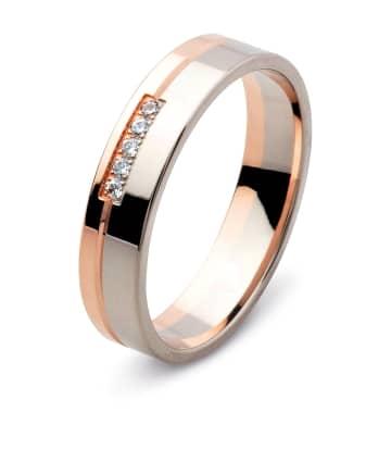 Vigselring från Flemming Uziel i 18k vitguld och roseguld med 5st briljantslipade diamanter på 0,01ct styck