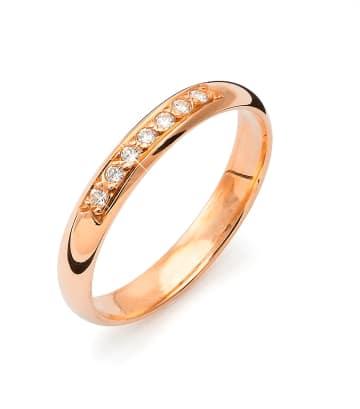 Vigselring från Flemming Uziel i 18k roseguld med 7st briljantslipade diamanter på 0,07ct styck