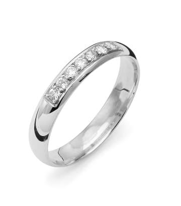 Vigselring från Flemming Uziel i 18k vitguld 0,14ct WSI diamanter -B002