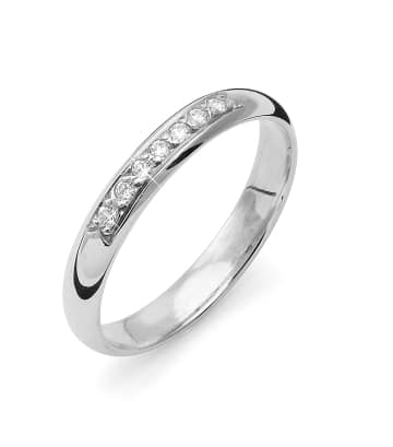Vigselring Flemming Uziel i 18k vitguld 0,07ct WSI diamanter -B001